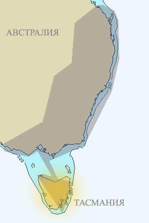 Австралия. Схема первого транс-антиподского маршрута. Тасмания.