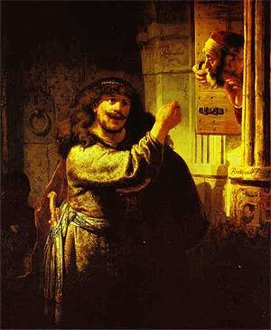 Рембрандт ван Рейн. Самсон угрожает тестю. 1635 г