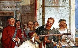 Галилео Галилей показывает телескоп венецианскому дожу. Дж. Бертини. Фреска