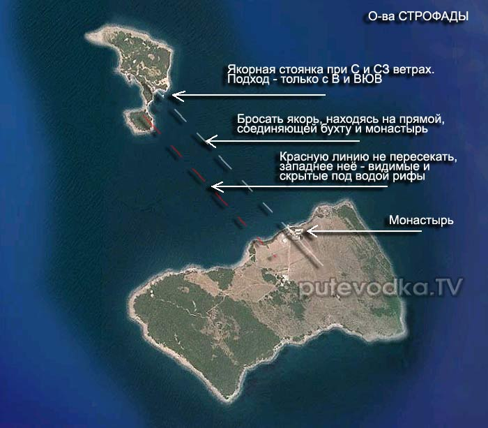 Строфадес (Строфады). Карта.
