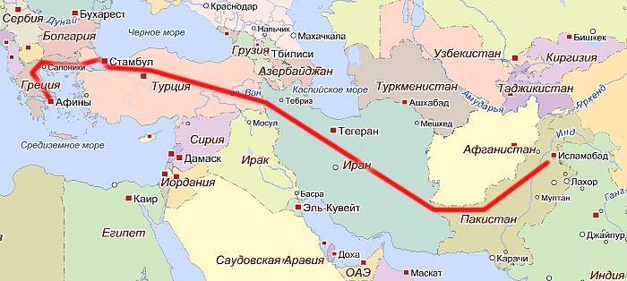 Традиционный путь иммигранта из Пакистана в Грецию.