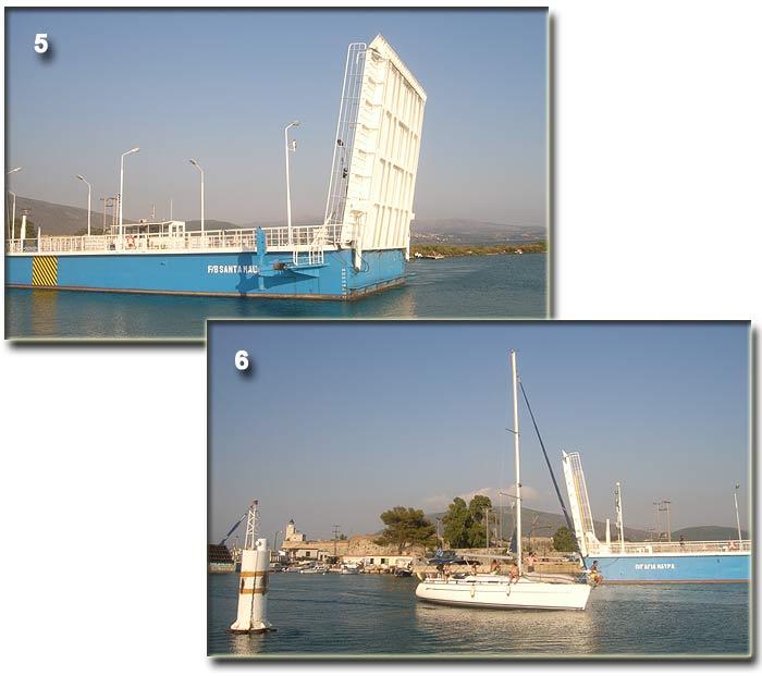 Греция. Ионическое море. Канал Лефкас (Lefkas). Разводной понтонный мост на северном входе в канал.