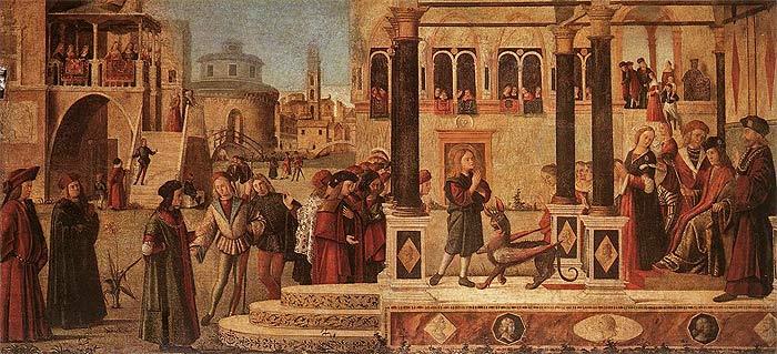 Витторе Карпаччо. Изгнание беса святым Трифоном из дочери императора Гордиана. 1507 г. Холст. Темпера.