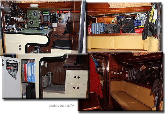Jeanneau SunFizz 40 Пепелац (реконструкция 2013 г). Навигационный пост, кают-компания, камбуз.