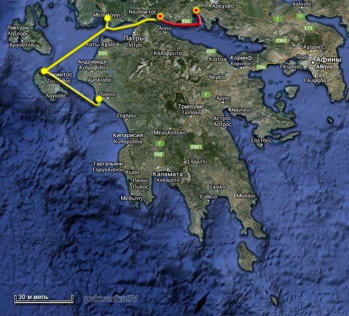 Вокруг Пелопоннеса. Карта маршрута.