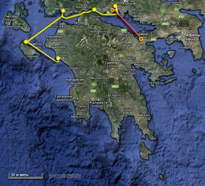 Греция. Вокруг Пелопоннеса. Карта маршрута.