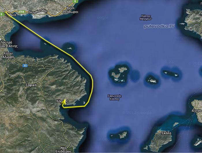 Коринфский канал— Корфос. Карта маршрута.