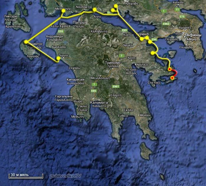 Вокруг Пелопоннеса Карта маршрута.