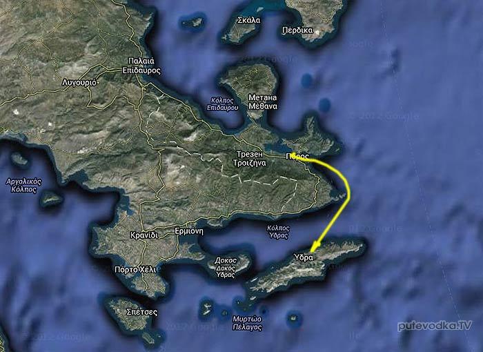 Греция. Залив Сароники. Карта маршрута Порос— Идра.