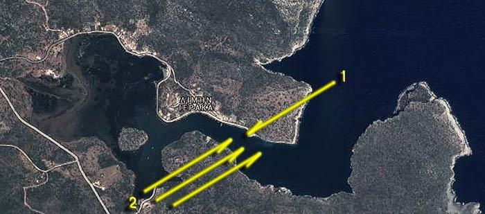 Греция. Пелопоннес. Иерака. Карта-схема бухты.