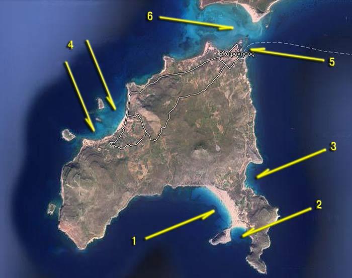 Вокруг Пелопоннеса. Остров Элафонисос. Карта-схема якорных стоянок.