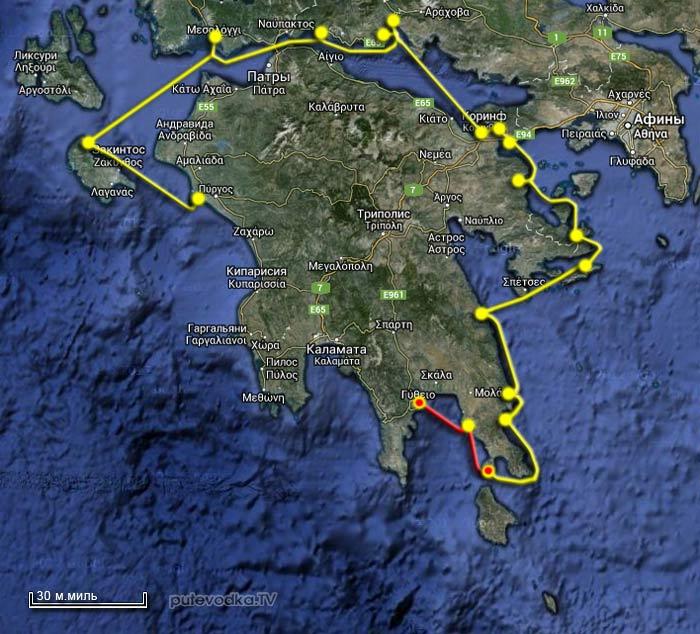 Вокруг Пелопоннеса. Карта маршрута Остров Элафонисос— Плитра— Итион.
