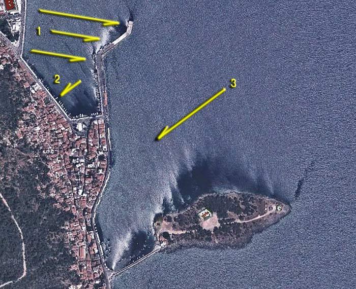 Греция. Пелопоннес. Итион. Схема бухты, причалов и якорных стоянок.