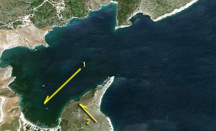 Греция. Пелопоннес. Порт Кайо. Схема якорной стоянки и береговой прогулки.