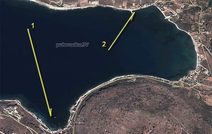 Греция. Пелопоннес. Мани. Схема акватории залива Лимени