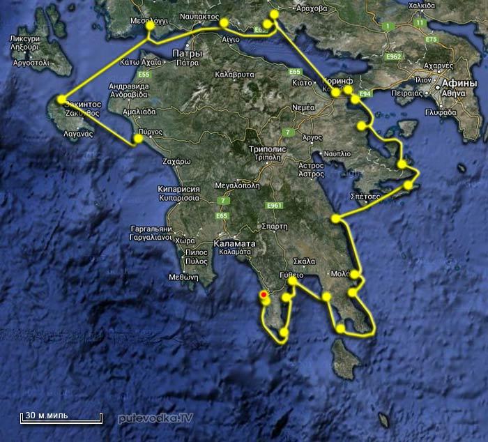 Вокруг Пелопоннеса 2013. Карта маршрута. Лимени.