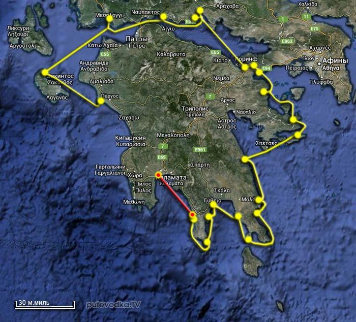 Вокруг Пелопоннеса 2013. Карта маршрута. Лимени— Петалиди (Петалидион).