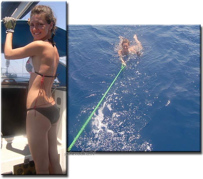 Яхта Пепелац. На веревке за бортом— Саша Арнаутова.