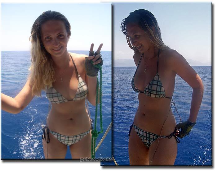 Яхта Пепелац. Маша ПУТЕВОДКА перед купанием на веревке за идущей яхтой. Хитрые веревочки, сохраняющие купальник на месте при ходе 3 узла.