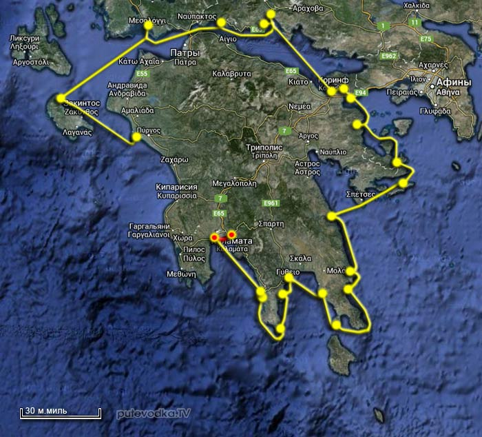 Вокруг Пелопоннеса 2013. Карта маршрута. Петалиди (Петалидион) — Каламата.