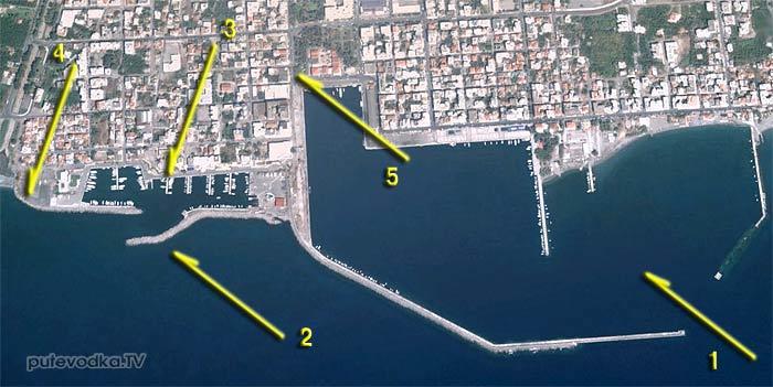 Греция. Пелопоннес. Каламата. Схема яхтенной марины.