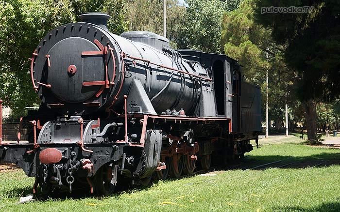 Греция. Пелопоннес. Каламата. Замечательный железнодорожный музей под открытым небом в городском парке.