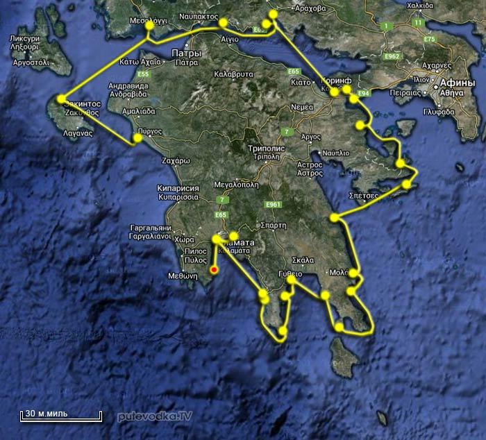 Вокруг Пелопоннеса 2013. Карта маршрута. Корони.