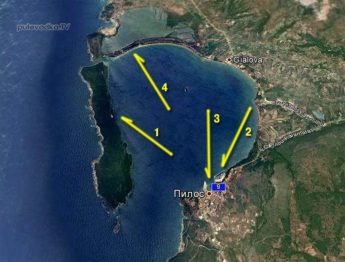 Пилос. Схема Наваринской бухты.