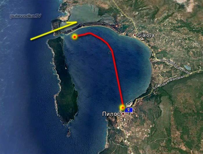 Вокруг Пелопоннеса 2013. Карта маршрута. Наваринская бухта.