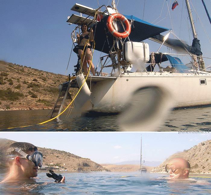 Яхта Пепелац. Греция. Коринфский залив. Бухта Стено. Тест дайвингового оборудования Хука.