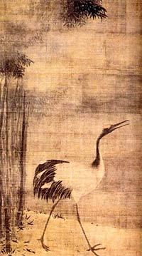 «ЖУРАВЛЬ И БАМБУК». Тохаку Хасегава (1539-1610)— японский художник, основатель школы живописи периода Момояма (1572-1615).