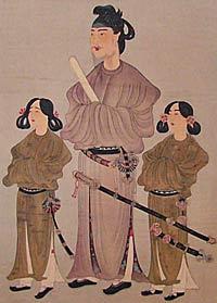 Принц Сетоку-Тайси. Прижизненный портрет с сыновьями. Первая половина VII века.