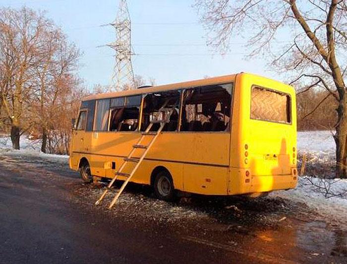 Волноваха. Автобус после взрыва.