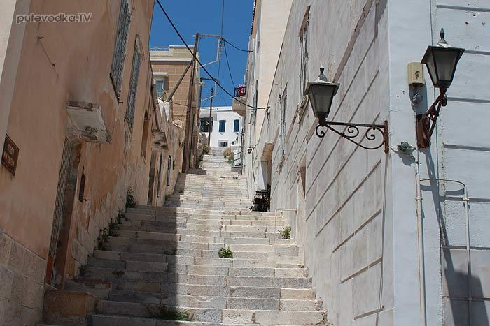 Путеводка. Греция. Киклады. Сирос. Порт Эрмуполис. Лестницы.