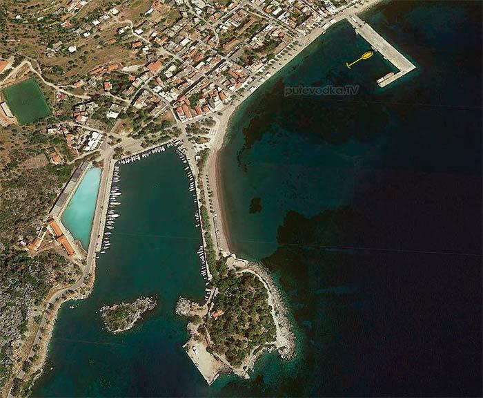 Греция. Пелопоннес. Порт Мефана. Схема швартовки.