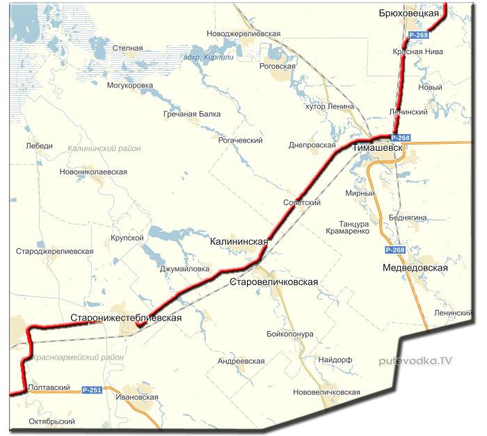 Темрюк— Воронеж. Карта маршрута.