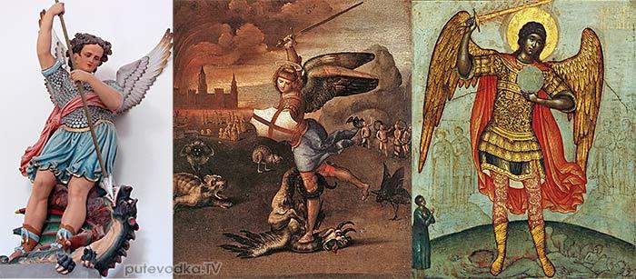 Архангел Михаил слева направо:  — во французском селе Бурк;  — кисти Рафаэля (1518 г.);  — кисти Симеона Ушакова (XVII в.)