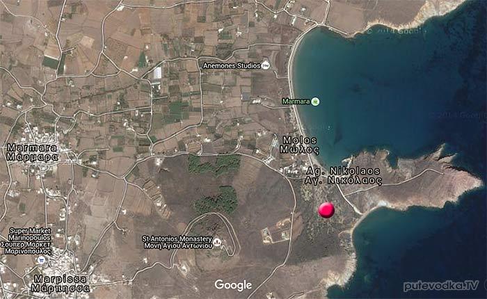 Карта окрестностей пос. Молос (восточное побережье)