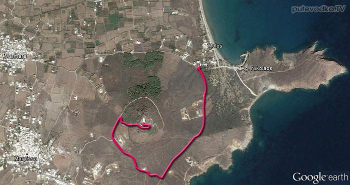 Спутниковая карта и маршрут прогулки