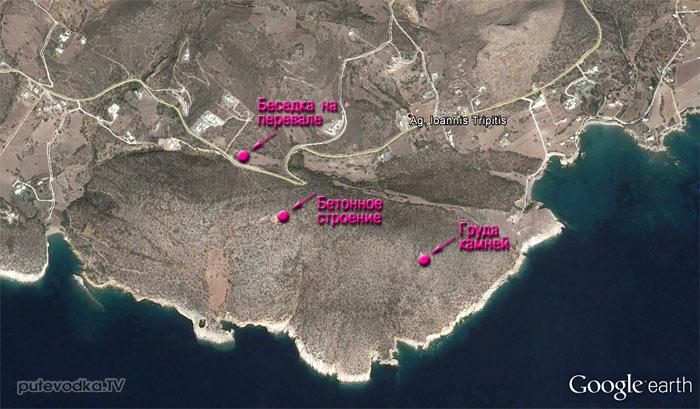 Южная оконечность Пароса. Карта.