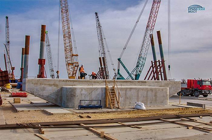 первая опора автомобильного моста через Керченский пролив