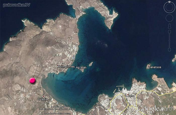 Спутниковая карта. Наусская бухта. Микенский Акрополь.