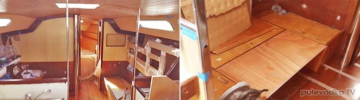 Яхта ПЕПЕЛАЦ. Ремонт на конец 2017 г. Кают-компания. Левый борт.