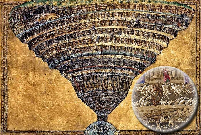 Сандро Боттичелли. «Бездна Ада». 1480 г. Пергамент и цветные карандаши. 32x47 см.<br /> Ватиканская апостольская библиотека.