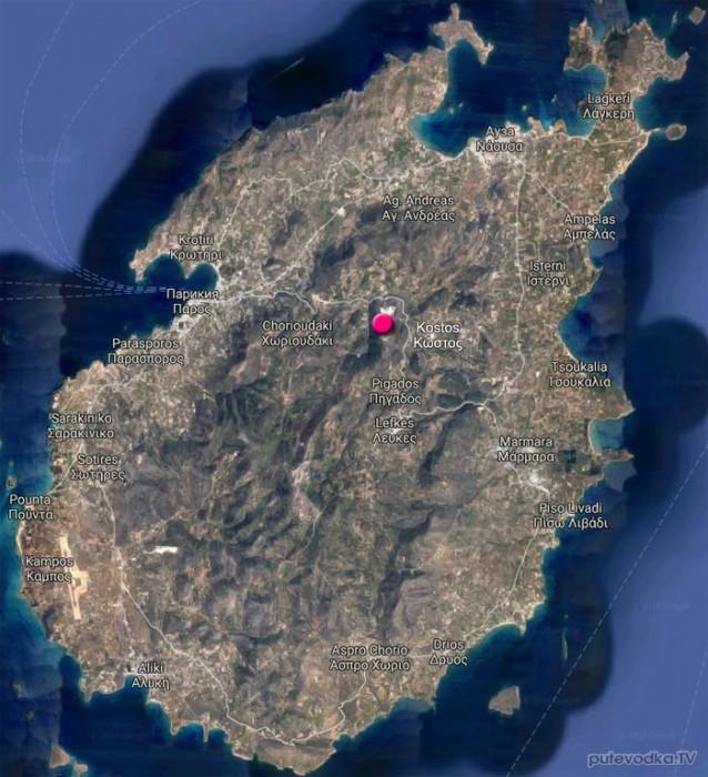 Парос. Карта острова.