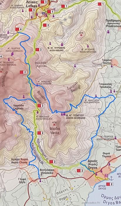 Схема маршрута: Аспро Хорио— гора Стубуло— Монастырь Св. Георгия.