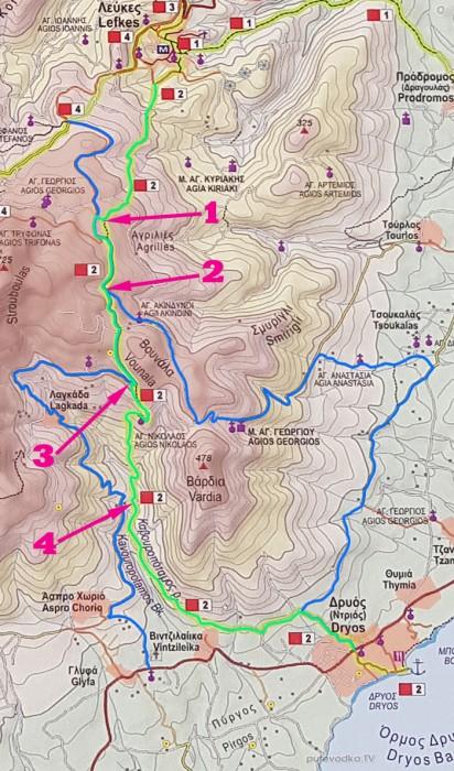 Схема маршрута №2: Лефкес— Дриос.