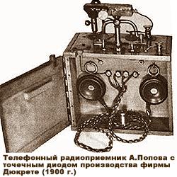 Телефонный радиоприемник А.Попова с точечным диодом производства фирмы  Дюкрете (1900 г.)